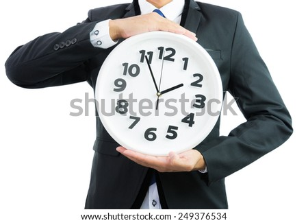 White clock holding in businessman hands isolated on over white background