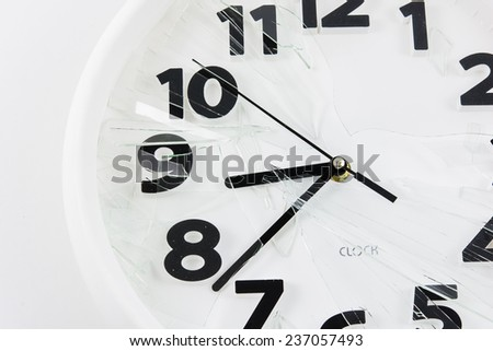 White clock is broken glass isolated on white background