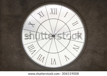 White Clock time on old grungy grey concrete wall. - stock photo
