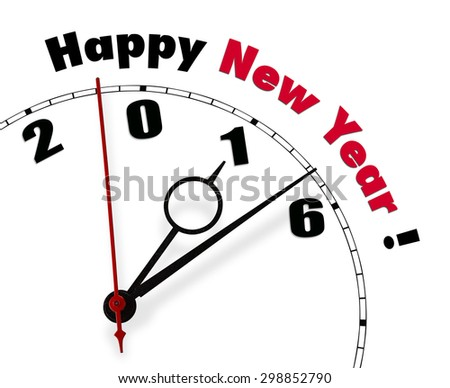 White clock with words Happy New Year 2016 - stock photo