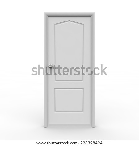 White closed the door on an isolated background - stock photo