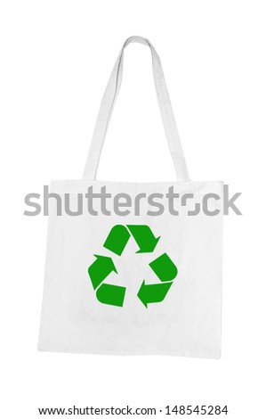 white cloth bags with green recycle reduce reuse sign - stock photo