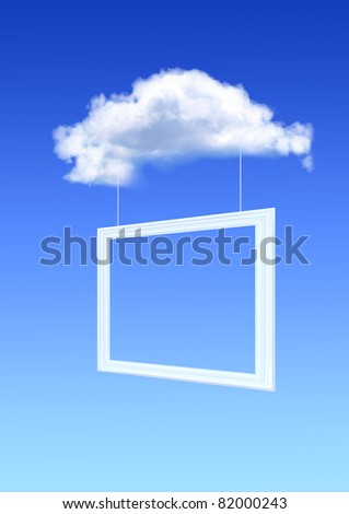 White cloud and picture frame in the blue sky