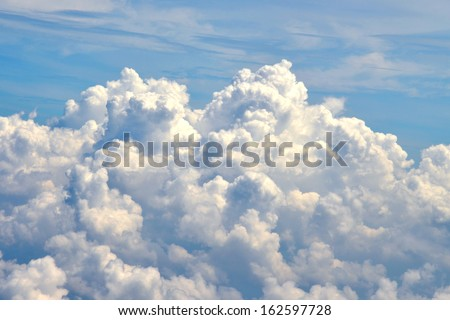 White cloud in blue sky , background - stock photo
