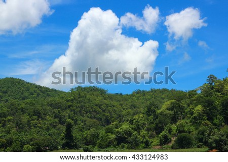 white cloud in blue summer sky in sunny day