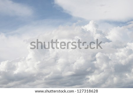 White cloud over blue sky - stock photo