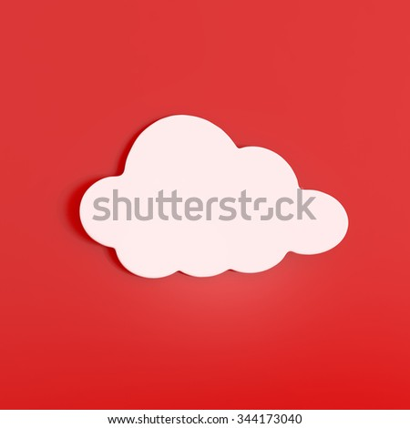 White Cloud Sticker isolated on Red - 3d illustration - stock photo