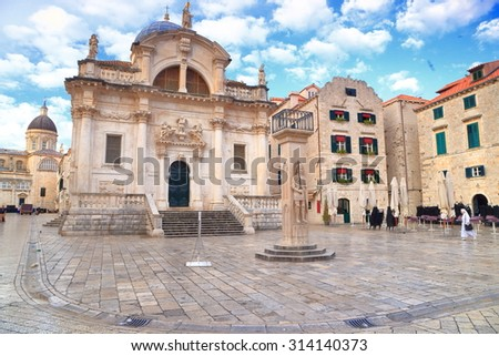 White clouds above Baroque church of St Blaise in Dubrovnik, Croatia