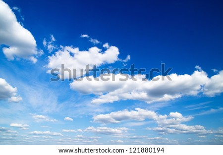 white clouds against blue sky - stock photo