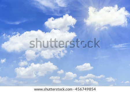 White clouds and blue sky in sunny day.