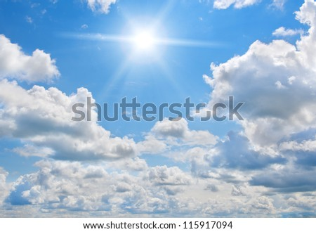 White clouds and blue sky. Nature background. - stock photo