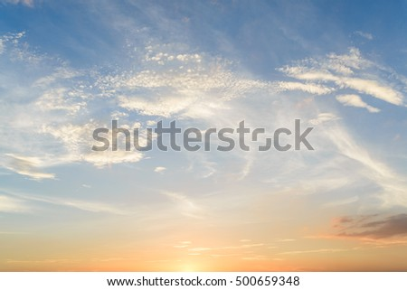 White clouds, blue sky, sunset lanscape