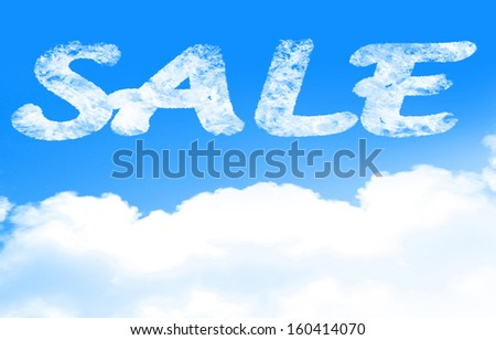 white clouds in a clear blue sky with (for) sale written in it - stock photo