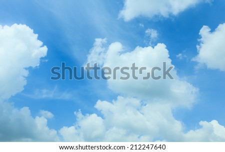 White clouds in blue sky with space for your text