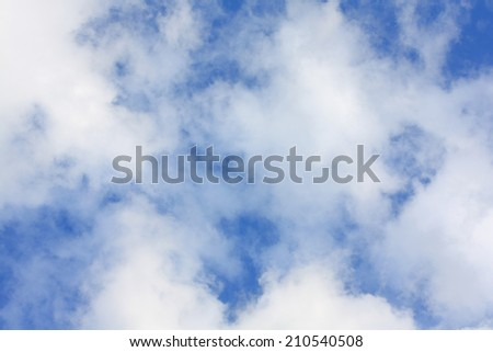 White clouds in the blue sky natural background - stock photo