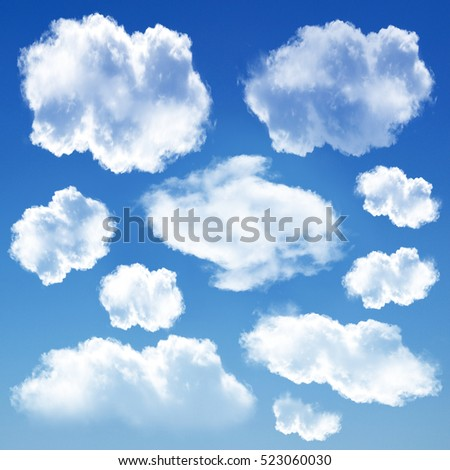 White clouds set isolated over blue background, 3D rendering design elements high resolution illustration