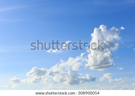 White clouds with blue sky.