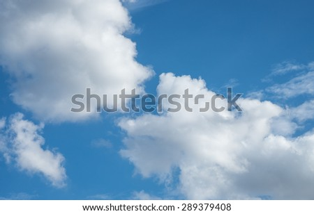 White clouds with blue sky for ozone background - stock photo