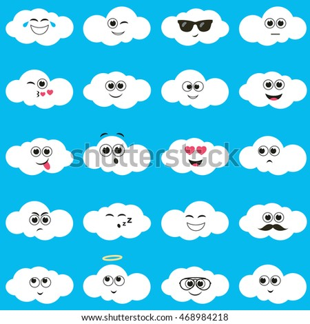 White clouds with smiley faces. Raster version
