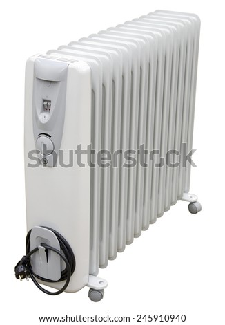 White coastal electric heater on oil with european AC plug on white background. Isolated with clipping path. - stock photo