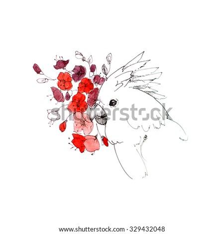 White cockatoo on flower background, illustration - stock photo
