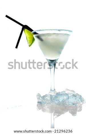 white cocktail with lime and ice isolated