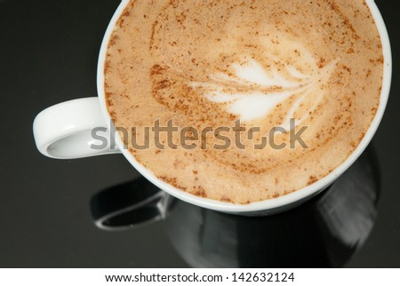 white coffe cup on the black background - stock photo