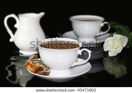 White coffee cup and milk - stock photo