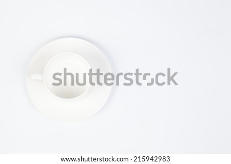 white coffee cup and saucer on white isolated background.