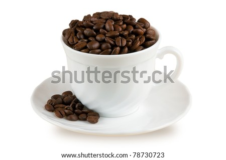 White coffee cup. Brown roasted coffee beans isolated on white background. - stock photo
