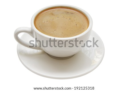 White coffee cup isolated with clipping path - stock photo