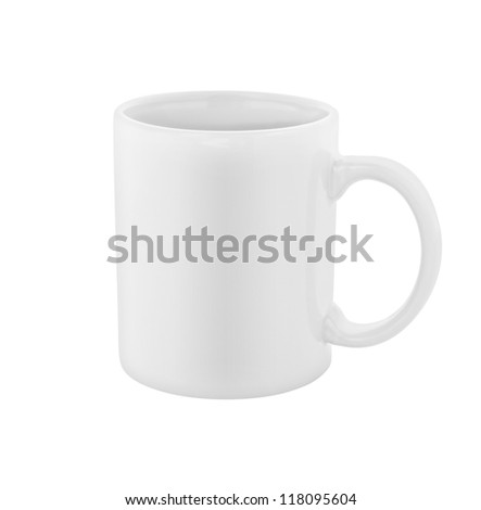 white coffee cup isolated with clipping path included - stock photo