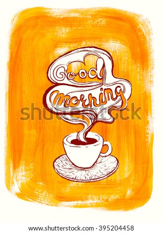 White coffee cup on painted orange acrylic background. Illustration for cooking site, menus and food designs.  - stock photo