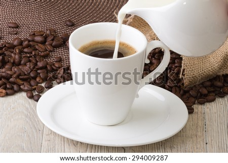White coffee cup on table