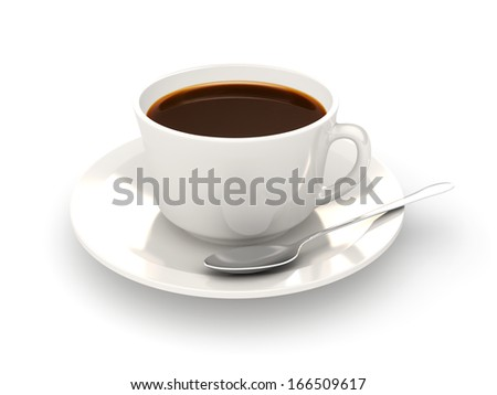 White coffee cup with a silver spoon isolated on a white