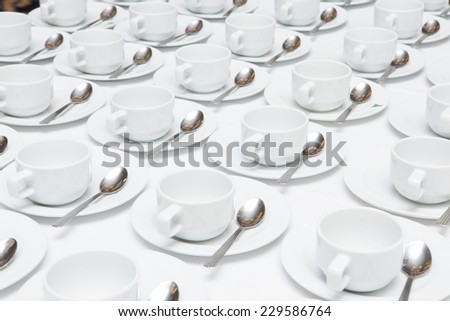 white coffee cups on a white background - stock photo