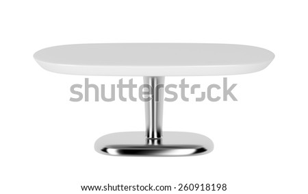 White coffee table isolated on white background