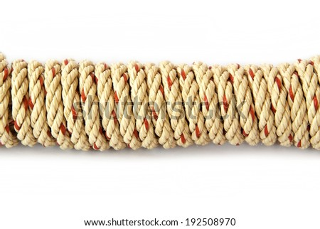 white coil rope isolated on white background.