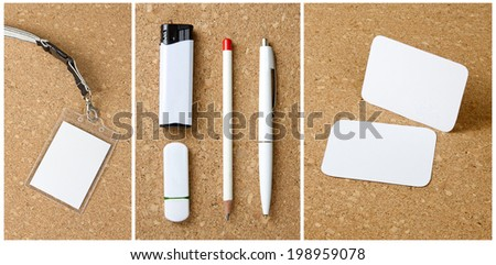 White collection of stationery on corkboard background - stock photo