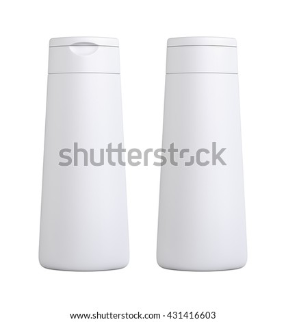 White color blank Packaging plastic bottle, on white background isolated. Packshot design for front view and back view of 3d Rendering.