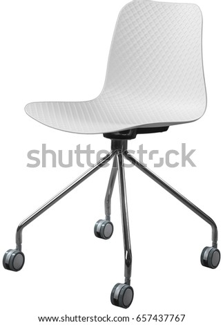 white color plastic chair with chrome legs, modern designer. Swivel chair isolated on white background.