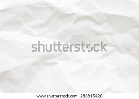 White color tone crumpled paper for background:ragged carton in bright backdrop:art pattern parchment conception:recycle and reuse of stationery:square and rectangle plain page:crinkle and wrinkle. - stock photo
