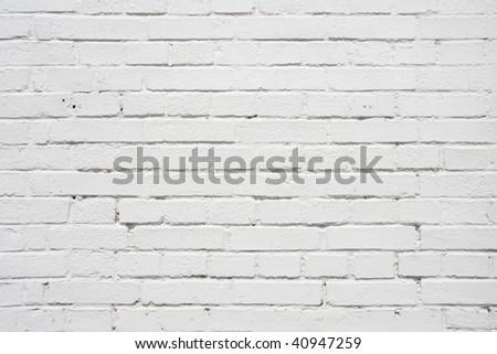 white coloured brick wall - stock photo