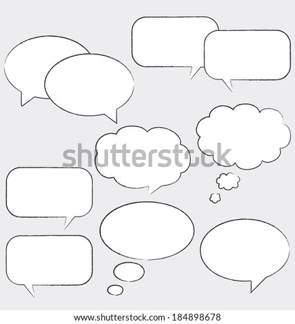 White comic speech bubble set. - stock photo