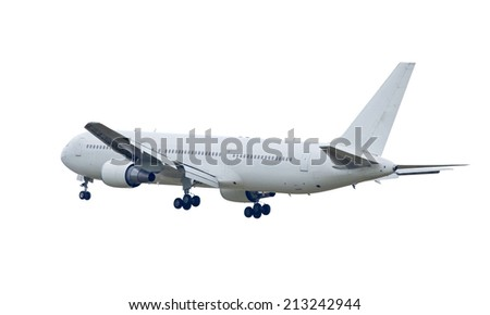 white commercial airplane isolated on white background This has clipping path - stock photo