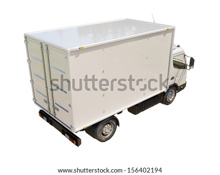 White commercial delivery truck isolated on a white background - stock photo