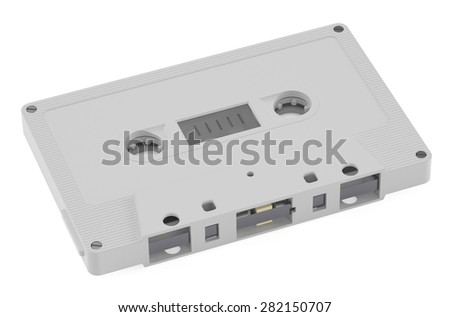 White Compact Cassette  isolated on white background