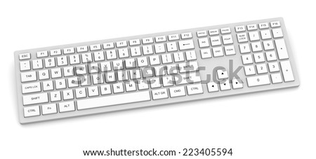 White Complete Pc Keyboard Isolated on White Background