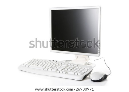 White computer against white background, focus mainly on the screen.