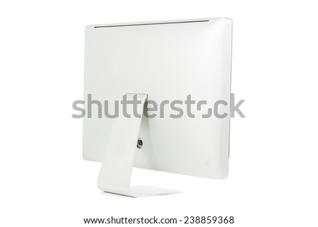 White computer monitor isolated on over white background